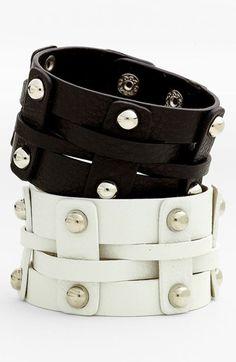 Cara Wide Woven Leather Bracelet