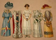 Lot Antique Mclaughlin Coffee? Paper Die-Cut Victorian Dolls-w.Extra Outfits (06/12/2013)