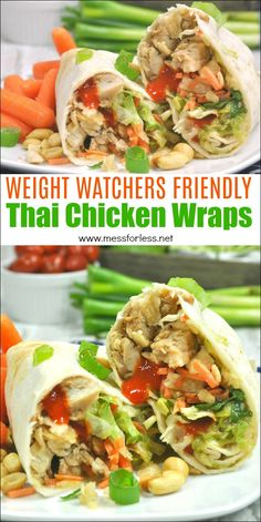 These Weight Watchers Thai Chicken Wraps are just four points each! Easy to make… These Weight Watchers Thai Chicken Wraps are just four points each! Easy to make and assemble. This Weight Watchers recipe. Weight Watcher Dinners, Weight Watchers Pasta, Weight Watchers Program, Weight Watchers Lunches, Weight Watchers Meal Plans, Weight Watchers Desserts, Weight Watchers Meatloaf, Thai Chicken Wraps, Chicken
