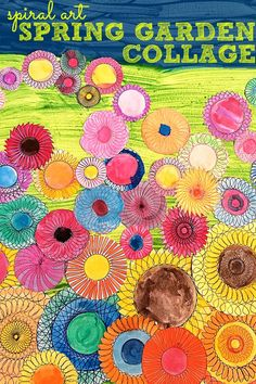 Make a bright and colourful Spring garden collage with kids using your spiral art kit!