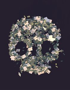 The clear outline of a human skull with looming eye sockets is formed by a large number of management-related objects, including cash, paper...