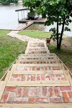 Reclaimed brick walkway down to the lake Embracing the Lake Life Home on Lake Wedowee