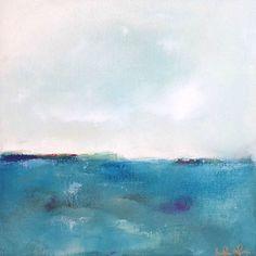 Marino azul turquesa colores Resumen Original pintura - ensueño turquesa Mar 12 x 12