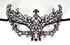 Lady Mystic Laser Cut Venetian Masquerade Metal Filigree Mask W/ Rhinestones ++