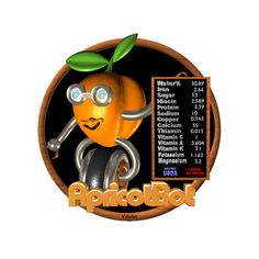 Valxart's apricotBot is one of many FUDEBOTS by Valxart.com that remind us to know what we eat and eat healthy . We are what we eat !   For Nutritional data for foods you eat, see  USDA Nutritional CHARTS  www.cnpp.usda.gov/Resources.htm