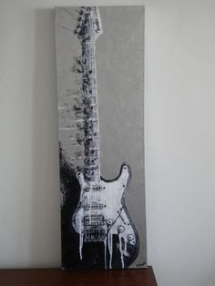 Original abstract Fender Guitar black silver white by MagdaMagier