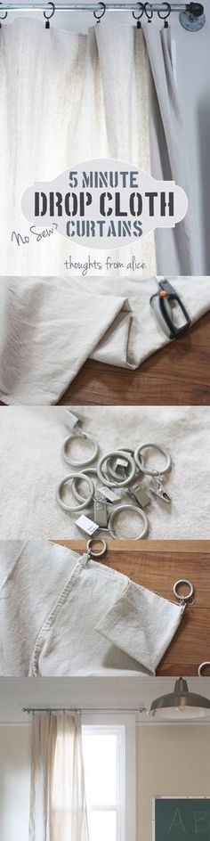 Learn how to make a pair of canvas drop cloth curtain panels in five minutes. All for under $25! #DIYHomeDecorCurtains