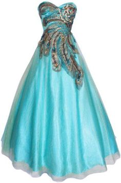 Strapless Mesh Peacock Long Gown Prom Dress, Size: XS, Color: Turquoise-Gold PacificPlex,http://www.amazon.com/dp/B00AVPYB9A/ref=cm_sw_r_pi_dp_N7mkrb1P30BCYWR9