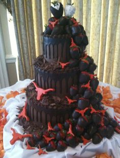 The Cake Guys - groom cake, love the cascading chocolate strawberries