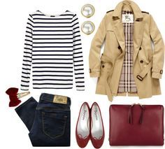 Dark blue jeans with white and black striped shirt, cream colored trench coat and deep red accessories