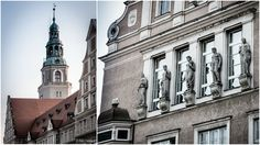 A hundred years old New Town Hall of Olsztyn, the capital of Warmia & Mazury Lake District, northern Poland with the City Council windows decorated with statues of the civic virtues: Justice, Wisdom, Beauty, Strength and Diligence