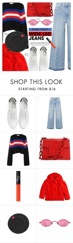 """Denim Trend: Wide Leg Jeans"" by chocolate-addicted-angel ❤ liked on Polyvore featuring Prada, Étoile Isabel Marant, Tak.Ori, Nancy Gonzalez, Whiteley, NARS Cosmetics, Diesel and WithChic"