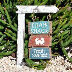 Seaside Crab Shack Sign  #miniature #fairy #garden