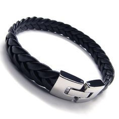 SLICK BLACK LEATHER BRACELET: KONOV Jewelry Men's Leather Bracelet, Stainless Steel Clasp, Black Silver, 9 Inch: KONOV Jewelry: Jewelry