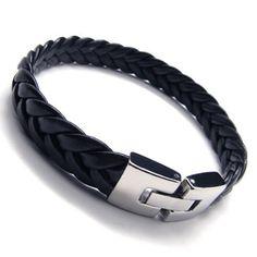 SLICK BLACK LEATHER BRACELET: KONOV Jewelry Men's Leather Bracelet, Stainless…
