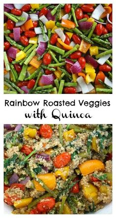 This meal will literally brighten your day! Rainbow roasted veggies with quinoa and a garlic-balsamic dressing (vegan, gluten-free)