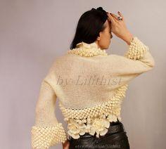 Ivory Bridal Shrug Bolero Wedding Jacket  Crochet von lilithist