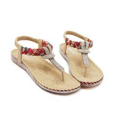 f25aa8812ad US Size 5-10 Women Summer Bohemian Beach Soft Comfortable Casual Fashion  Flat Sandals Shoes