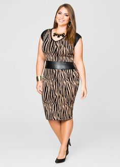 Faux Leather Trim Sweater Dress From the Plus Size Fashion Community at www.VintageandCurvy.com
