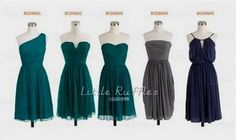 Cool dark teal chiffon bridesmaid dresses