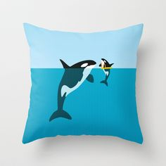 Orca Throw Pillow by WyattDesign