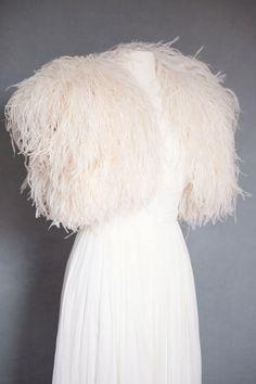 Sample Sale Ostrich Feather Shrug Jacket by theweddingdresser, $495.00