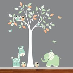 Cute whimsical nursery vinyl decal tree set. Great addition to any nursery, playroom, kids room for girl or boy.  Includes: Tree with leaves 60W x