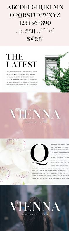 Vienna is a modern, minimal and classy serif font that is perfect for editorial use. This font would pair perfectly with a script/signature or handwritten style Best Serif Fonts, Modern Serif Fonts, English Alphabet, Punctuation, Glyphs, Vienna, Script, Editorial, Image