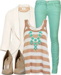 Great Spring work attire. I would pair with khaki pants.