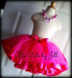 Sewn Hot Pink Tutu with Hot Pink Satin Ribbon Trim by Tutu Cute By Jill