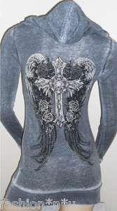 Sexy Angel Wing Shirts | SEXY rhinestone CROSS & ROSES tattoo Long Sleeve T shirt top GOTHIC
