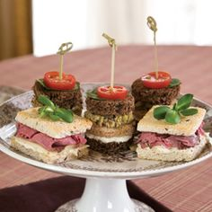 Roast Beef and Horseradish Tea Sandwiches [use vegetarian meat substitute for healthy option]