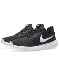 Just as light and flexible as the original, Nike's Roshe Two features a triple-layer sole unit with three foam densities for enhanced underfoot cushioning. An incredibly light and breathable sock-like mesh upper conforms to the contours of your feet offering supreme ventilation and lasting comfort.  Breathable Sock-Like Mesh Upper Triple-Density Foam Sole Unit  Slow-Recovery Foam Upper  Waffle Pattern Outsole  Hell & Tongue Pull Tabs  Style Code: 844656-004