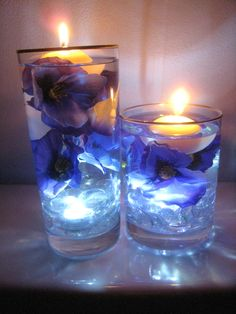 Purple and Blue Flower Floating Candle Wedding Centerpiece Kit with Clear Gems LED Light Gold Rimmed Vase