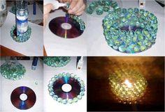 Ideias de artesanato com CDs e DVDs velhos 017                              …