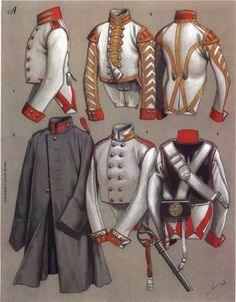 Uniforms of Russian cuirassiers and trumpeters - habits trompette et troupe cuirassiers russes