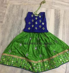 Glass Work Green Lehenga