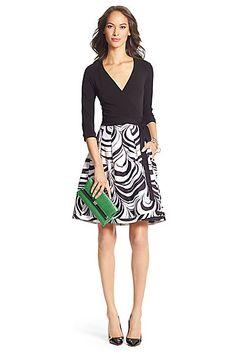 DVF Jewel Silk Combo Pleated Wrap Dress in in Black/ Marble Wave Black