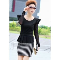 Korean Style Voile Long Sleeve Stripe Scoop Neck Faux Twinset Dress For Women  $14.51