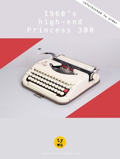 REFURBISHED TO ORDER /// 1960's Princess 300 Typewriter. Very good working condition. German portable. Ivory. With Case.