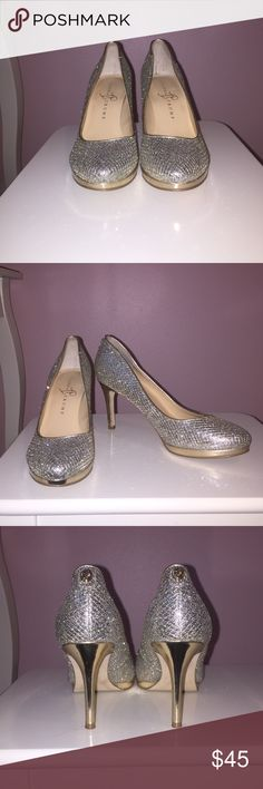 Nordstrom Sparkly Heels Ivanka Trump sparkly heels, only worn once for homecoming. These were one of my first pairs of heels & were surprisingly comfortable! Ivanka Trump Shoes Heels