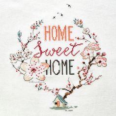 Home sweet home - cross stitch / Helene Le Berre Cross Stitch House, Just Cross Stitch, Cross Stitch Needles, Cross Stitch Heart, Cross Stitch Borders, Cross Stitch Flowers, Modern Cross Stitch, Cross Stitch Designs, Cross Stitching