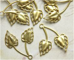 Raw Brass Leaf Leaves Filigree Stamping Drop by DecadentBrassGlass
