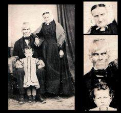 Fotografía de una familia con un toque terrorífico real.
