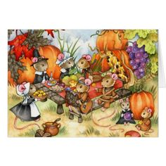 A Thankful Feast - cute Thanksgiving mouse animal art by Carmen Medlin Thanksgiving Invitation, Thanksgiving Art, Thanksgiving Greetings, Thanksgiving Pictures, Define Art, Cute Mouse, Art Portfolio, Whimsical Art, Cute Stickers