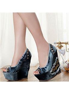 Fancy Rivets Peep-Toe Wedge Heels