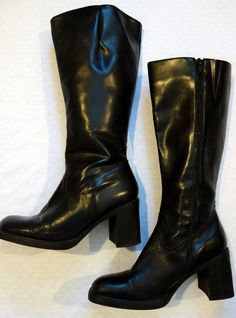 Aldo Size 40 Euro/9 US Women's Black Knee-Length Boot 3-inch Stacked Heel Zip #ALDO #KneeHighBoots