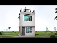 ARKIX3D - YouTube Two Storey House Plans, Narrow House Plans, Modern House Floor Plans, Narrow House Designs, Modern Small House Design, Tiny House Design, Two Story House Design, 2 Storey House Design, Modern House Philippines