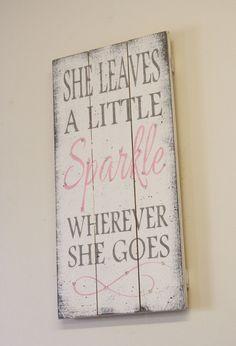 She Leaves A Little Sparkle Wherever She Goes Pallet Sign Girls Nursery Decor Nursery Wall Art Shabby Chic Nursery Vintage Nursery Pink