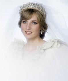 The Princess of Wales wears the Spencer Family Tiara on her wedding day on July 29, 1981.